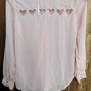 Other - Pink heart cutout shirt